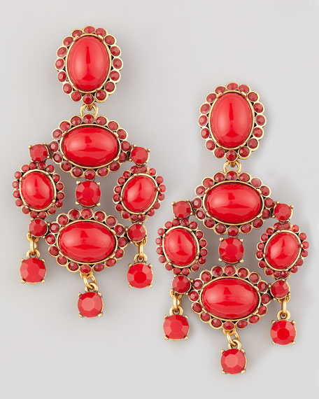 Cabochon Drop Clip Earrings, Red