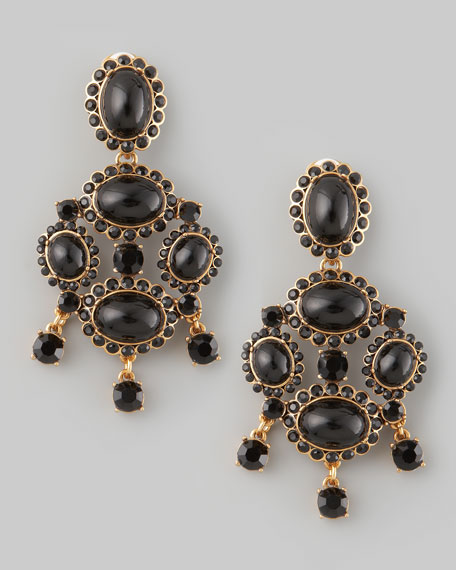 Cabochon Drop Clip Earrings, Black