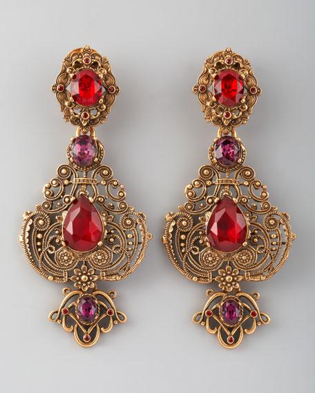 Crystal Filigree Clip Earrings