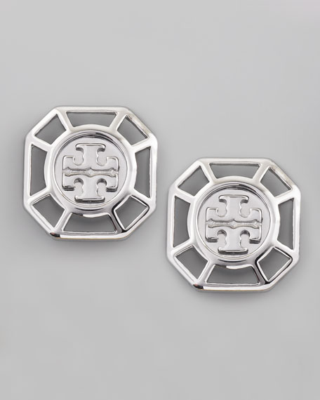 Audrina Logo Earrings, Silvertone