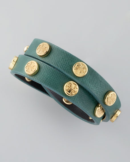 Logo-Studded Saffiano Wrap Bracelet, Malachite