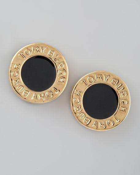 Cole Logo Stud Earrings, Black