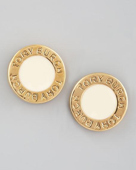 Cole Logo Stud Earrings, Ivory