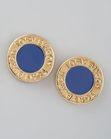 Cole Logo Stud Earrings, Blue