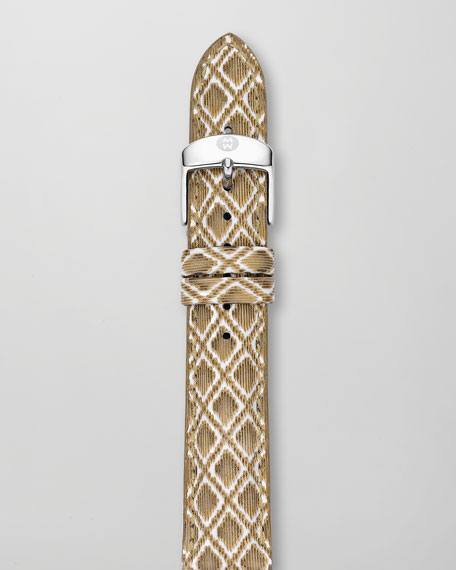 16mm Textured Leather Watch Strap, Golden