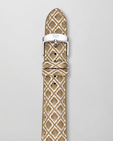 20mm Textured Leather Watch Strap, Golden