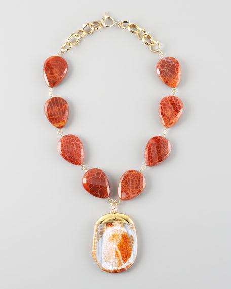 Orange Fire Agate Necklace