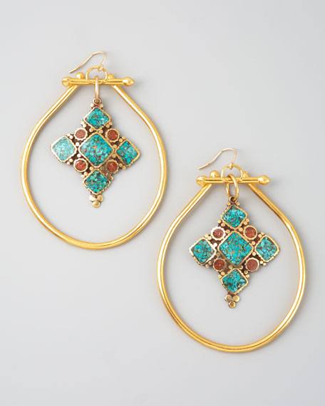 Turquoise & Coral Drop Hoop Earrings