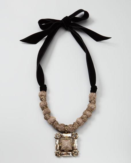 Lurex-Bead Pendant Necklace