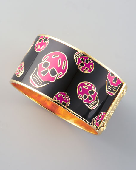 Large Enamel Skull Bangle, Black/Pink