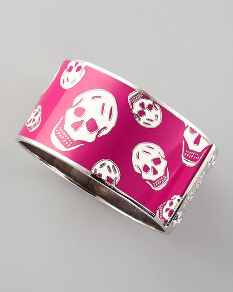 Large Enamel Skull Bangle, Pink/White