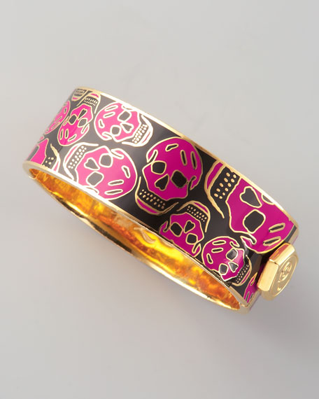 Medium Enamel Skull Bracelet, Black/Pink