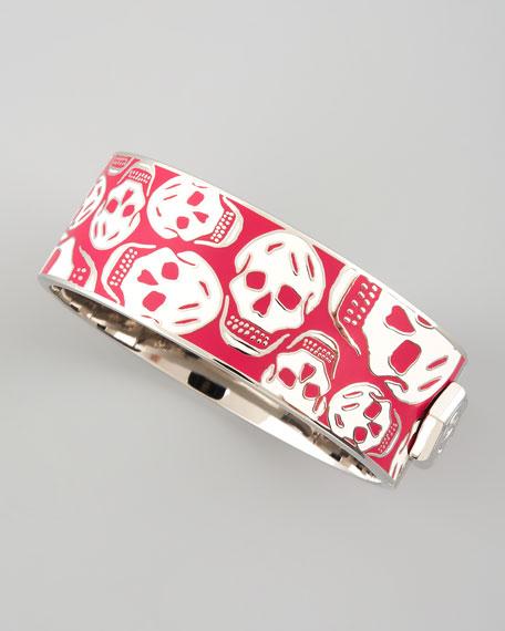 Medium Enamel Skull Bracelet, Pink/White