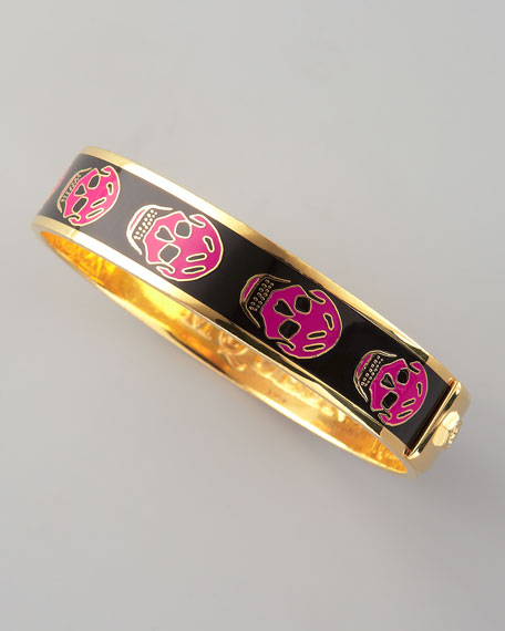 Small Enamel Skull Bangle, Pink/Black