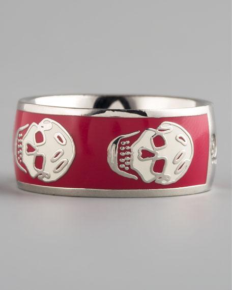 Skull Enamel Ring, Pink/White