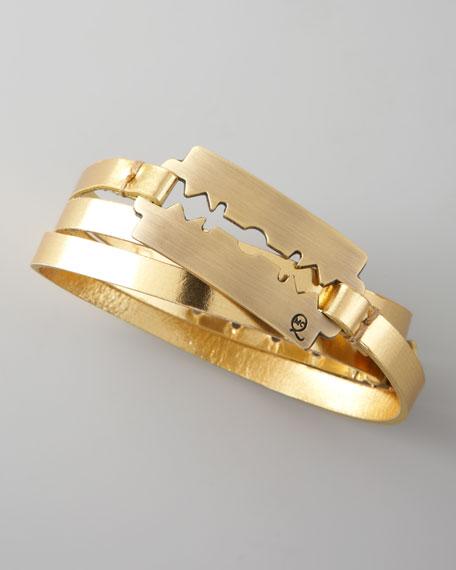 Razor-Blade Wrap Bracelet, Gold