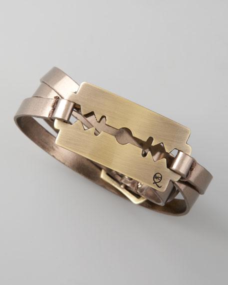 Razor-Blade Wrap Bracelet, Silver