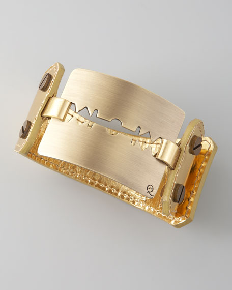 Large Razor-Blade Bracelet, Gold