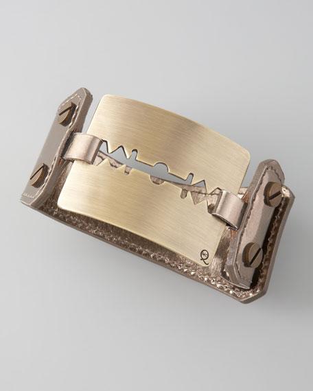 Large Razor-Blade Bracelet, Silver