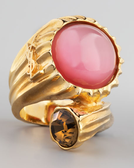 Golden Snail Ring, Pink