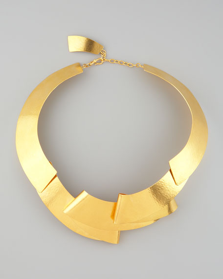 Folded Ribbon Collar Necklace