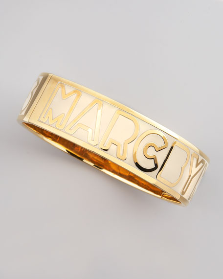Hinge Bangle, Cream