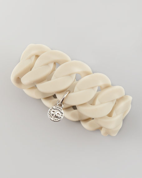 Katie Wide Rubber Turnlock Bracelet, Beige
