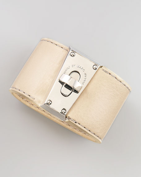 Intergalocktic Leather Bracelet, Beige