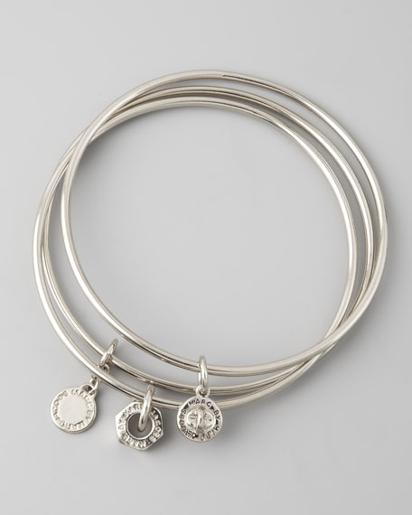 Classic Icons Bangle Set, Silvertone