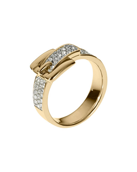 Pave Buckle Ring, Golden