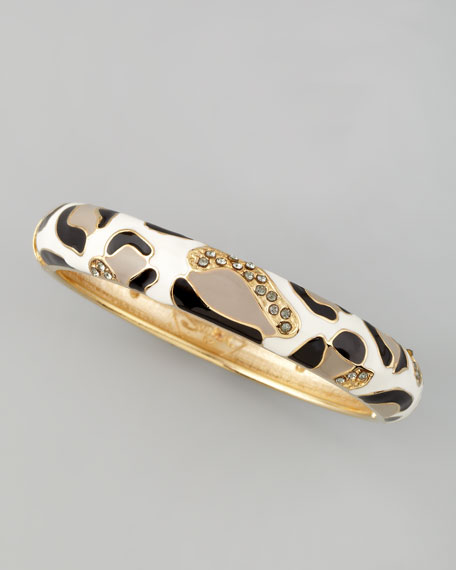 Wide Leopard Bangle, Black/White