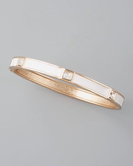 Skinny Crystal-Station Bangle, White