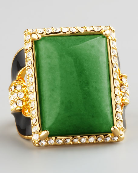 Square Ring, Green Quartz
