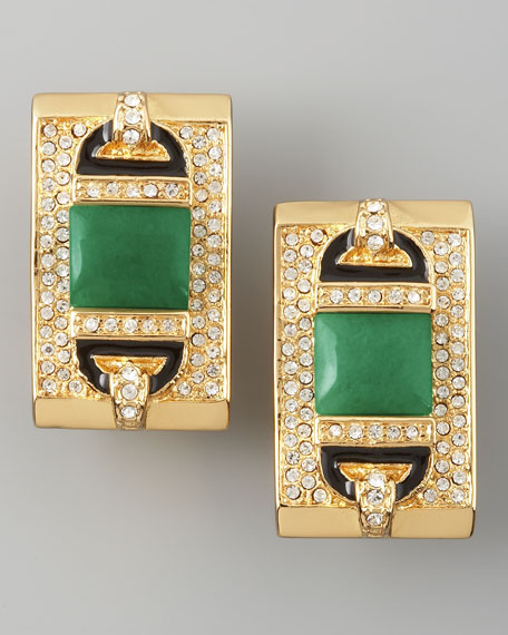 Rectangular Clip Earrings, Green Quartz