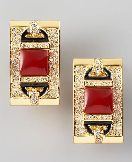 Rectangular Clip Earrings, Red Quartz