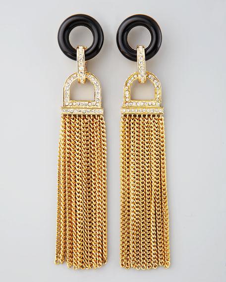Rhinestone Tassel Earrings, Black Quartz