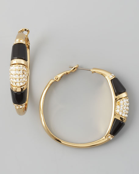 Pave-Resin Hoop Earrings, Black