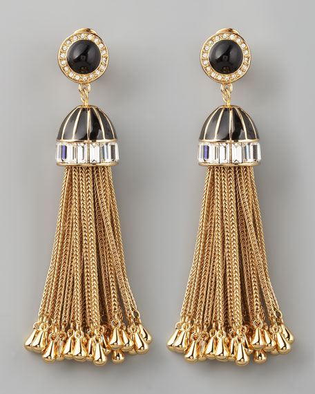 Rhinestone Tassel Drop Earrings