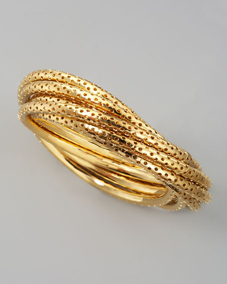 Perforated Bangle Set, Yellow Golden
