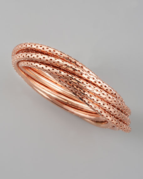 Perforated Bangle Set, Rose Golden