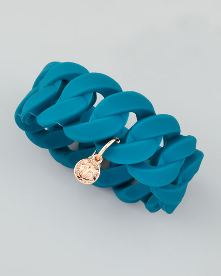 Wide Rubber Katie Turnlock Bracelet, Teal