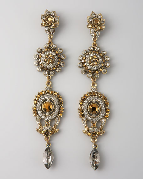Linear Four-Drop Earrings