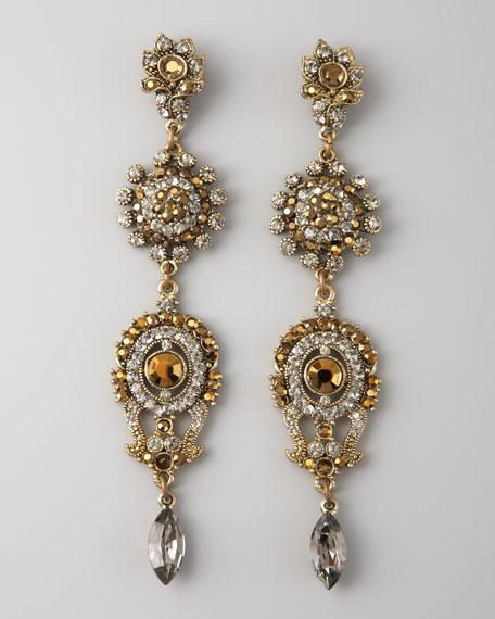 Linear Four-Drop Earrings