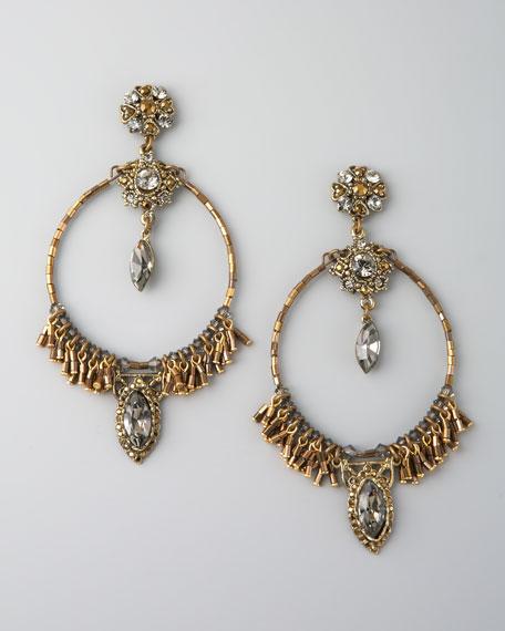 Bead-Fringe Circle Earrings