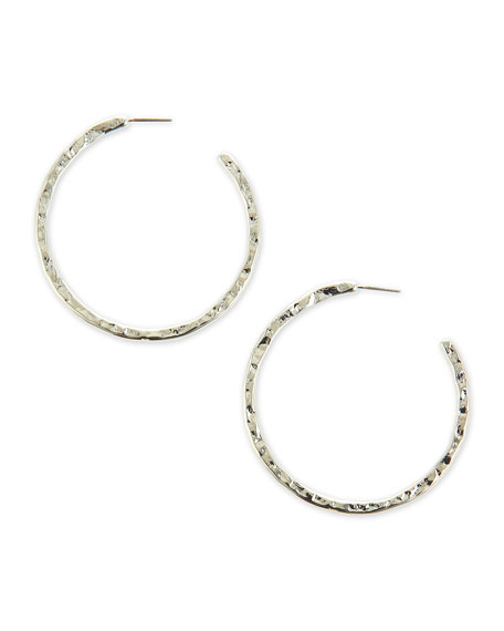 Hammered Hoop Earrings, Silver