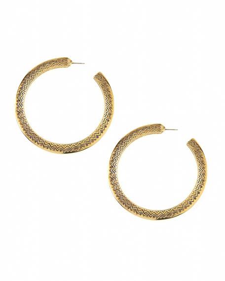 Etched Mohawk Hoop Earrings