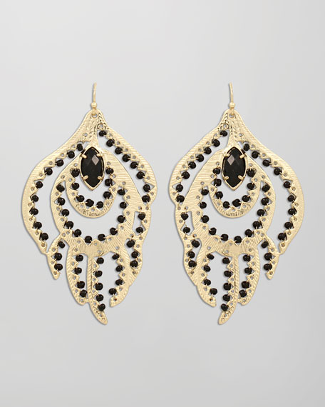 Paula Feather Earrings, Black
