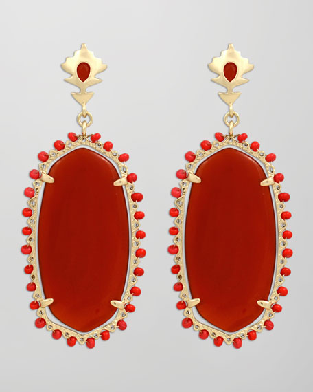 Dalton Earrings, Red Onyx