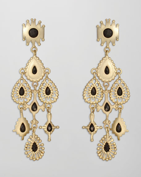 Rollins Drop Earrings, Black