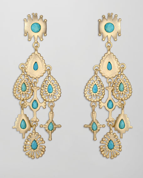 Rollins Drop Earrings, Turquoise